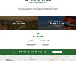 New website design currently under development for Tanoshii Chinese and Japanese Restaurant in Winston-Salem, NC