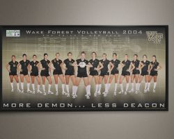 Poster for the 2004 Wake Forest Volleyball team