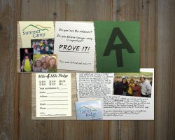 Pledge card for a fundraising event benefiting a NC youth summer camp